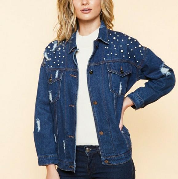 chloah Jackets & Blazers - Pearl Denim Jacket Distressed